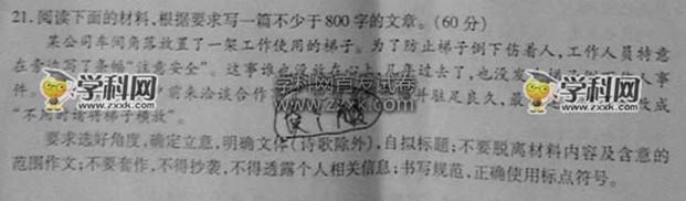 2012安徽高考作文:梯子不用时请横着放